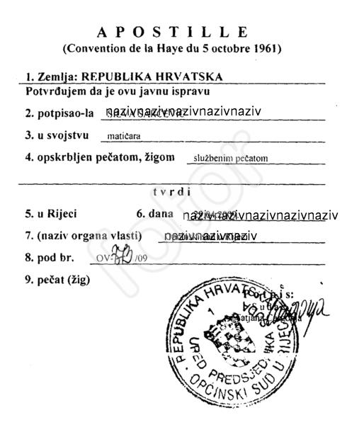Legalizacija isprava i potvrda Apostille